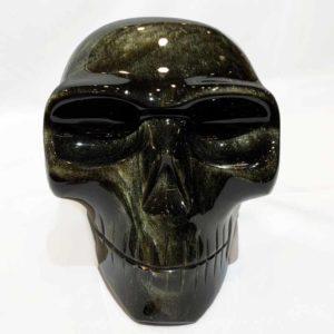 Agate Designs Gold Sheen Obsydian Skull Front
